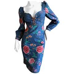 Roberto Cavalli Folkloric Rose Print Denim Cocktail Dress with Lace Up Details