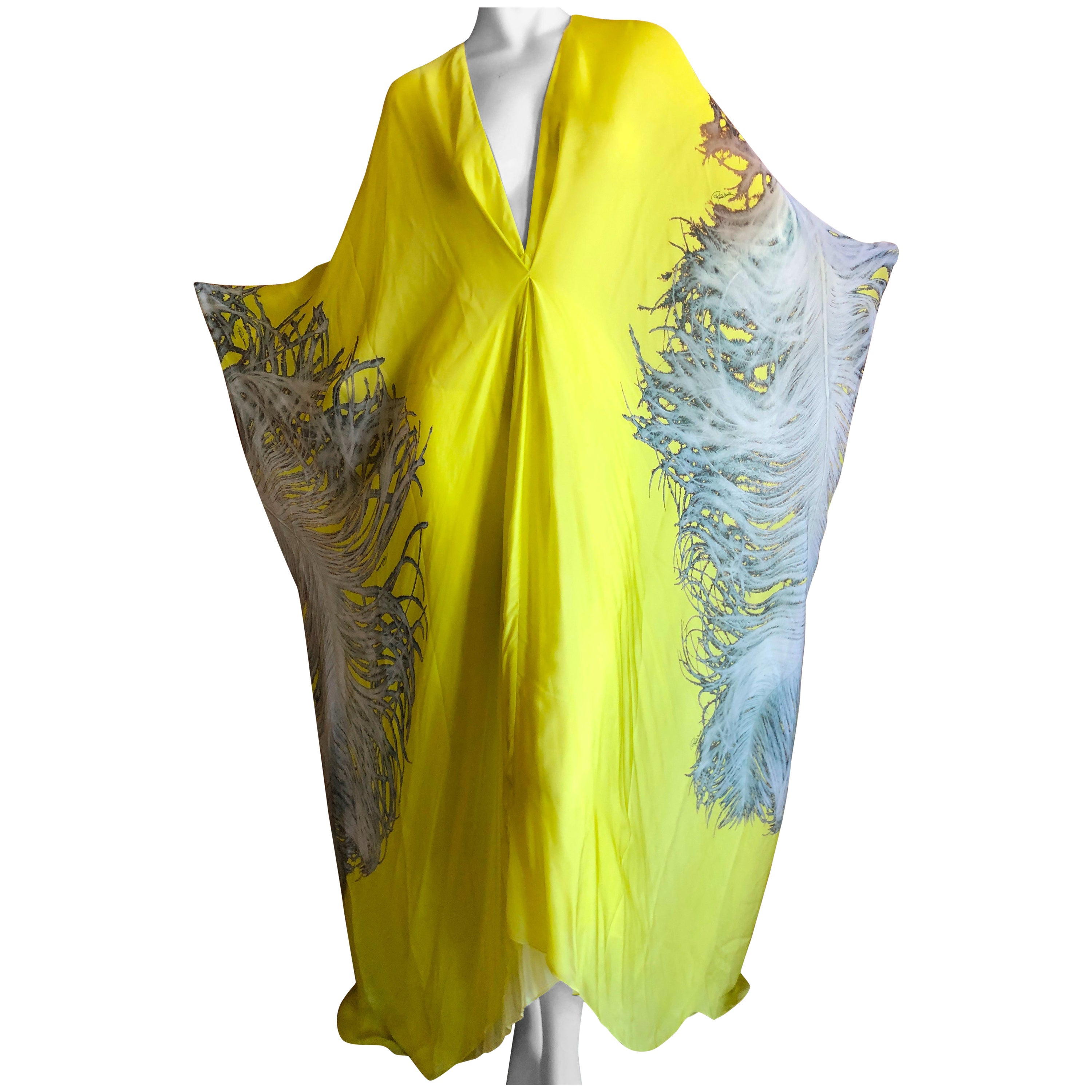 9a84c21f711e Roberto Cavalli Feather Print Yellow Silk Caftan Dress New with Tags at  1stdibs