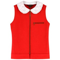 Louis Vuitton Detachable Monogram Crochet Collar Zippered Vest US 0