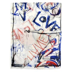 Chanel Ivory/Blue Cashmere/Silk Graffiti Print Stole/Silk
