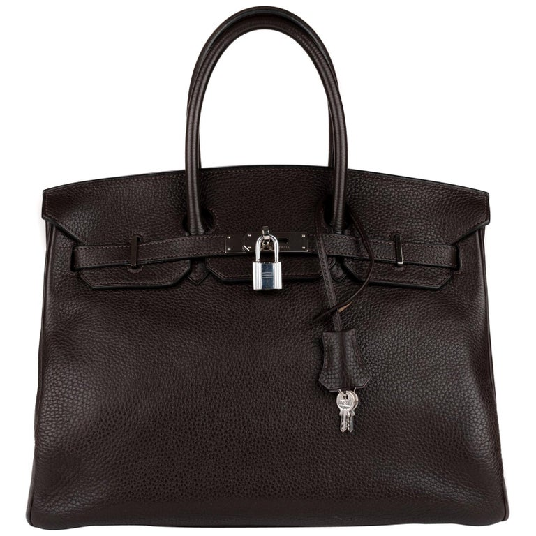 Hermes Birkin 35 Bicolor Ebony/Parma Togo Leather Handbag For Sale