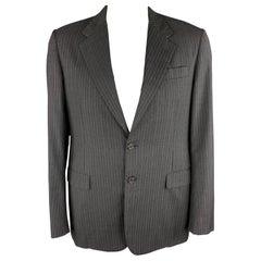PRADA 44 Regular Charcoal Stripe Notch Lapel Sport Coat Blazer