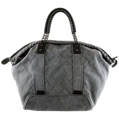Chanel Slate Grey Quilted Canvas XL Tote Bag