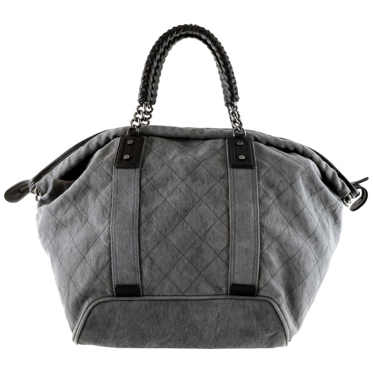 e710d33b87e2 Chanel Slate Grey Quilted Canvas XL Tote Bag For Sale at 1stdibs
