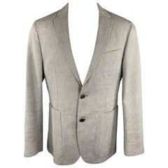 HUGO BOSS 38 Regular Grey Herringbone Wool / Linen Notch Lapel Sport Coat