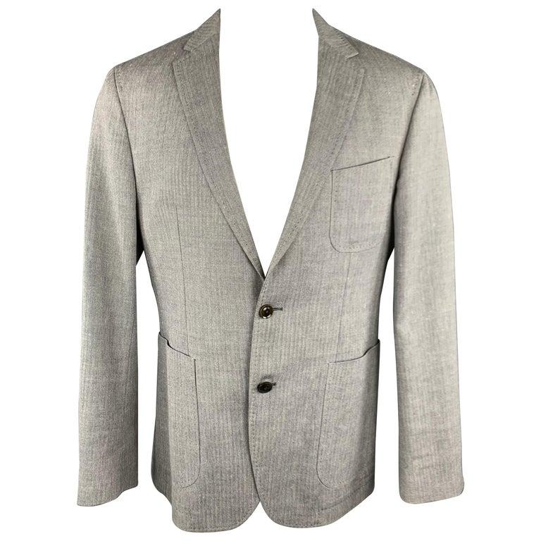 d2b5de89f HUGO BOSS 38 Regular Grey Herringbone Wool / Linen Notch Lapel Sport Coat  For Sale
