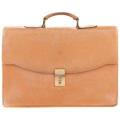 Dupont Bi Material Vintage Gold Leather Briefcase