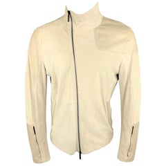 EMPORIO ARMANI 42 Size 42 Ivory Leather Zip Up Jacket