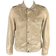 PRADA 42 Khaki Dyed Distressed Cotton Buttoned Trucker Jacket