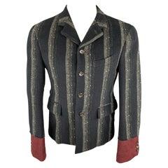 COMME des GARCONS HOMME PLUS 2000 M Navy & Grey Stripe Wool Sport Coat / Blazer