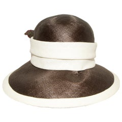 Halston Brown and Beige Hat W/ Beige Linen Band