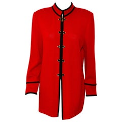 St. John Red Long Knit Jacket