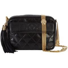 Chanel Vintage Black Lizard Exotic Leather Gold Evening Camera Shoulder Bag
