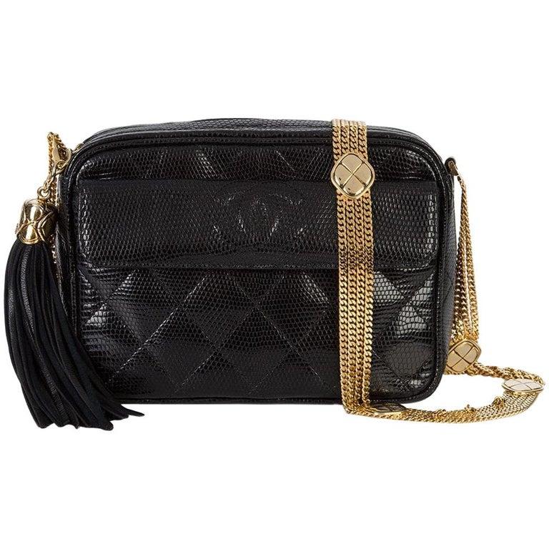 Chanel Vintage Black Lizard Exotic Leather Gold Evening Camera Shoulder Bag For Sale