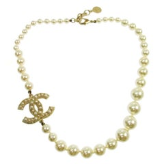 Chanel Gold Pearl Large Charm Logo Choker Evening Necklace in Box