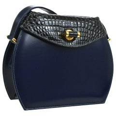 Gucci Navy Blue Leather Crocodile Trim Saddle Evening Shoulder Flap Bag in Box