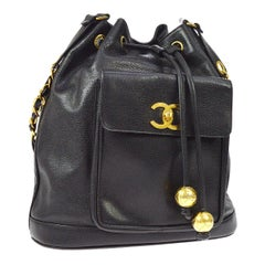 Chanel Black Leather Caviar Gold Charm Logo Drawstring Bucket Shoulder Bag
