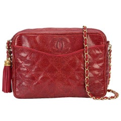 Chanel Red Lizard Leather Tassel Evening Camera Shoulder Bag