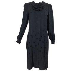 Andre' Laug black silk jacquard woven hearts dress 1970s