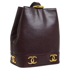Chanel Leather Gold Charms Sling Back Carryall Duffle Shoulder Bag