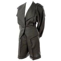 New Vintage Escada 1980s Green Linen 3 Pc Outfit Pants Shorts & Jacket Suit