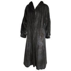 Black Ranch Mink Full Swing Coat 12-14  Retail 8,000+ Authentic Black Diamond
