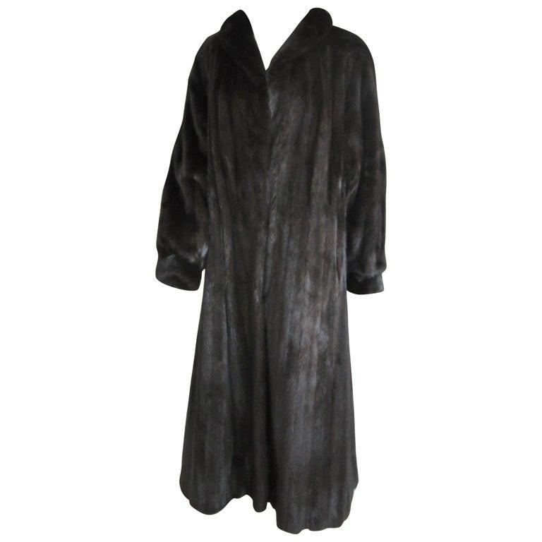 Black Ranch Mink Full Swing Coat 12-14  Retail 8,000+ Authentic Black Diamond For Sale