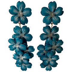 French Designer Blue Flower Chandelier Statement Earrings