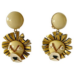 French Lion Statement Earrings