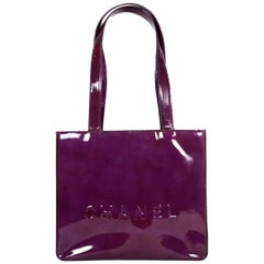 Chanel Eggplant Patent Leather Tote Bag