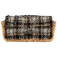 Chanel Tan/Black/White Plaid Tweed East West Flap Bag