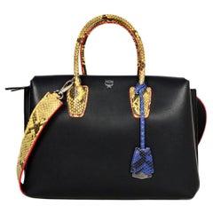 MCM 2017 Black Leather/Python Medium Milla Tote Bag W/ Yellow Exotic Python Trim