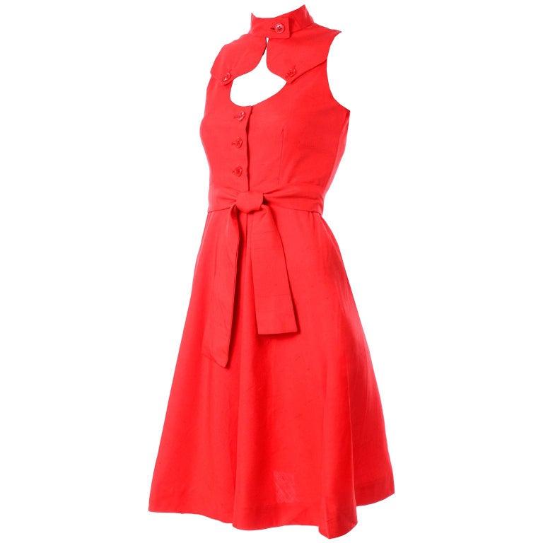 1960s Rodrigues New W Tags Vintage Orange Red Silk Dress w Keyhole Opening For Sale