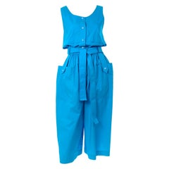 New Yves Saint Laurent YSL Vintage Blue Cotton Jumpsuit W Pockets & Belt w Tags