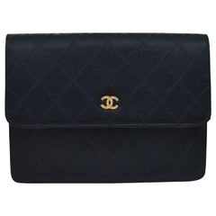 Chanel Black Satin Leather Gold Small Evening Flap Clutch Wallet Bag in Box