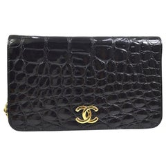 Chanel Vintage Crocodile WOC 2 in 1 Clutch Evening Shoulder Flap Bag