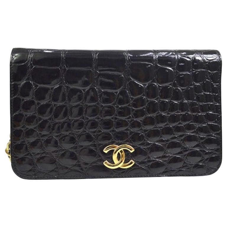 Chanel Vintage Crocodile WOC 2 in 1 Clutch Evening Shoulder Flap Bag For Sale