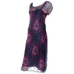 1920s Vintage Beaded Sheer Floral Silk Dress W Under dress Rose Pattern Design