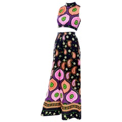 1970s Vintage Palazzo Pants & Crop Top in Pink Orange & Green Floral Mod Print