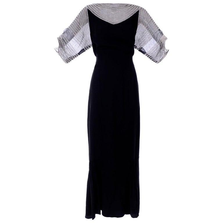 9198c58a0b83 1930s Black Silk Crepe Beaded Vintage Dress W Sheer Sleeves For Sale ...
