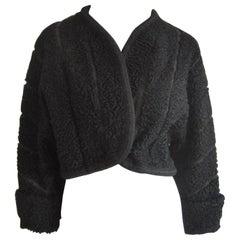 Black Persian Lamb Astrakan FUR Bolero Jacket
