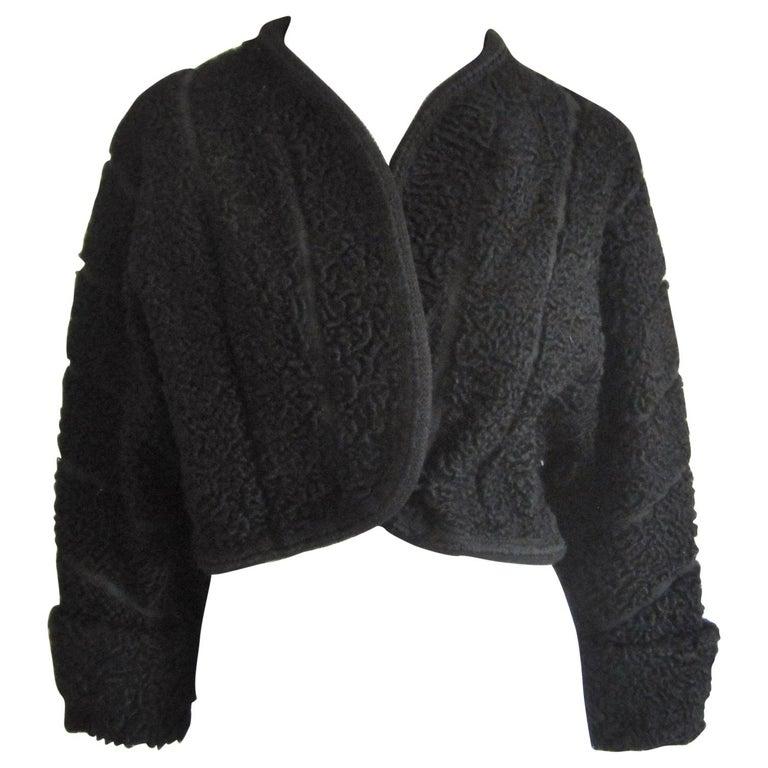 Black Persian Lamb Astrakan FUR Bolero Jacket  For Sale