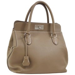 Hermes Nude Taupe Leather Palladium Carryall Top Handle Satchel Tote Bag