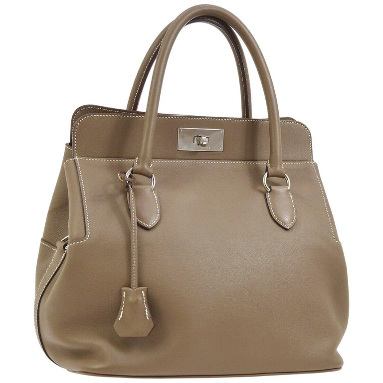 Hermes Nude Taupe Leather Palladium Carryall Top Handle Satchel Tote Bag For Sale