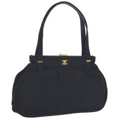 Celine Black Satin Gold KissLock Small Kelly StyleEvening Top Handle Satchel Bag