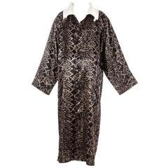 Yohji Yamamoto black acetate show robe with dated screen print, ss 1985