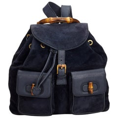 Gucci Blue Suede Leather Bamboo Drawstring Backpack Italy