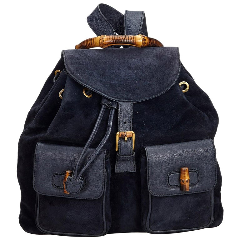 e2d7b7ad7aba Gucci Blue Suede Leather Bamboo Drawstring Backpack Italy at 1stdibs