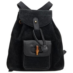 Gucci Black Suede Leather Bamboo Drawstring Backpack Italy