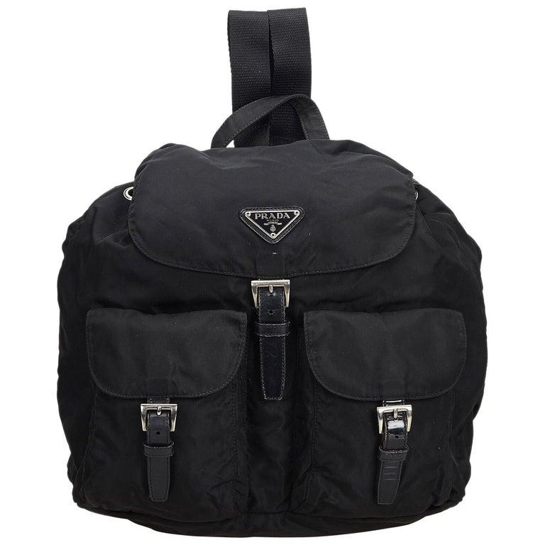 dc4ea56e3f31 Prada Black Nylon Fabric Drawstring Backpack Italy at 1stdibs